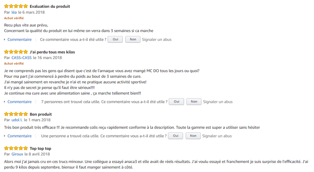 commentaires Amazon Anaca3